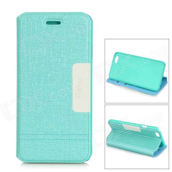 PT05 Protective ABS + PU Leather Full Body Case w/ Stand / Card Slots for IPHONE 6 - Cyan + White enkay protective pu leather case w stand and card slots for iphone 6 4 7 brown