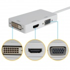 CY DP-045 Mini DP Displayport Thunderbolt to DVI VGA HDMI Adapter Cable - White