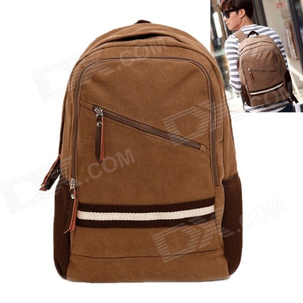ZIQIAO Outdoor Travel Stylish Casual Zippered Canvas Shoulders Bag Backpack - Khaki