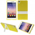 Hat-Prince Protective TPU Case w/ Stand for Huawei Ascend P7 - Yellow