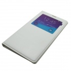 Protective Flip Open PU Leather + PC Case Cover w/ Window for Samsung Galaxy Note 4 - White