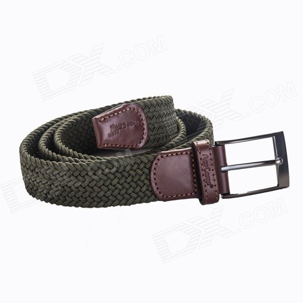 Acecamp 5113 Men's Fashionable Elastic Sports Pin Buckle Leather Belt - Olive Green