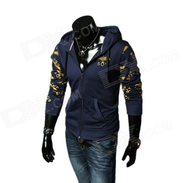 2014 New Autumn & Winter Men's Fashionable Long Sleeves Zippered Hoody Fleece Coat - Deep Blue (XL)