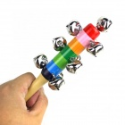 Orff instrumentos musicales de madera Rattle Bell - plata + Rojo + Multi-Color
