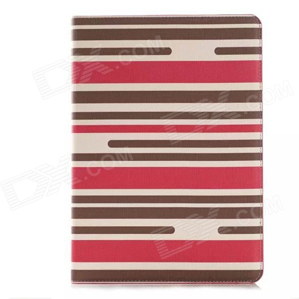 Striped Protective PU Leather Case w/ Stand + Money / Card Slots for IPAD AIR 2 - Red + Brown enkay jellyfish pattern protective pu leather smart case w stand for ipad air ipad 5 multicolor