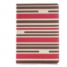Striped Protective PU Leather Case w/ Stand + Money / Card Slots for IPAD AIR 2 - Red + Brown
