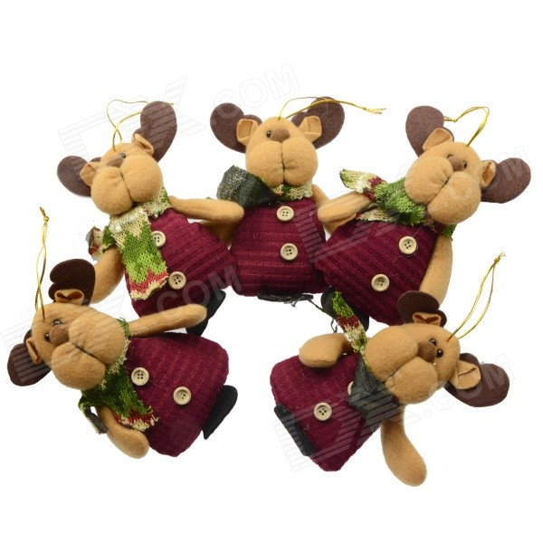 smkj-christmas-decorative-bear-ornament-red-earthy-yellow-multi-color-5-pcs