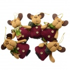 SMKJ Christmas Decorative Bear Ornament - Red + Earthy Yellow + Multi-Color (5 PCS)