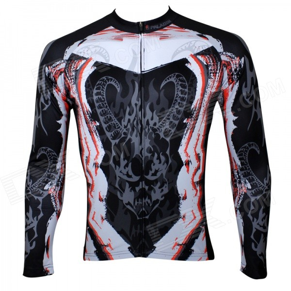 Paladinsport Men's Cycling Patterned Long Sleeves Jersey Top - Black + White + Multicolored (XL)