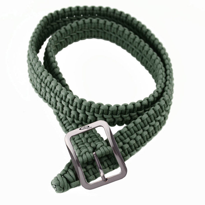 OUMILY Handmade Outdoor Survival Parachute Cord Paracord Belt - Army Green oumily 9 core glow in the dark outdoor survival parachute rope
