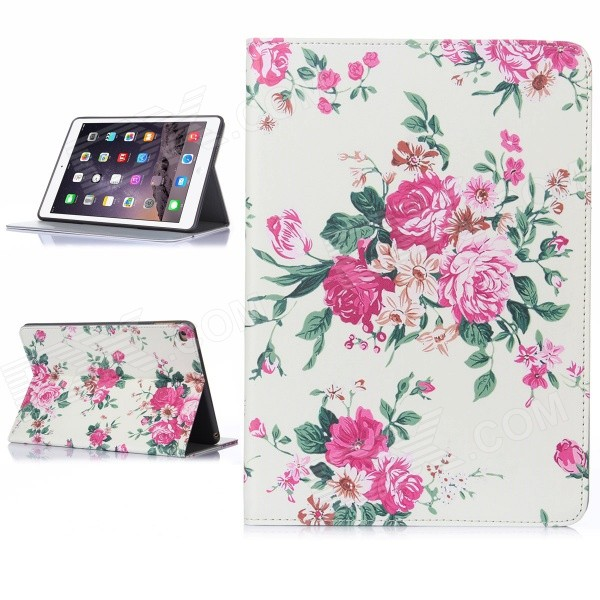 Hat-Prince Rose Pattern Auto Sleep / Wake Up Protective Case for IPAD AIR 2 - Beige + Pink