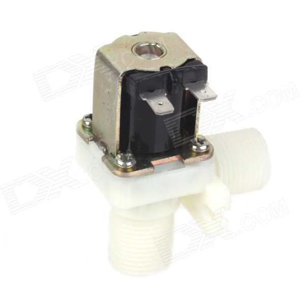 ZnDiy-BRY FPD-270A 24V DC 1/2 Plastic Solenoid Water Valve - Black + White 20 6mm impeller water flow sensor fluid flowmeter switch counter 1 30l min meter