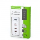 Vina 006 Safety Smart IC 3A 3-Port USB Fast Charger for Phone / Tablet PC - White (EU Plug)