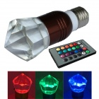JIAWEN 3W E27 LED RGB Colorful Remote Crystal Lamp - Brown + Transparent (AC100~220V)