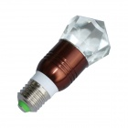 Jiawen 3W E27 LED RVB coloré lampe en cristal à distance - Brown + Transparent (AC100 ~ 220V)