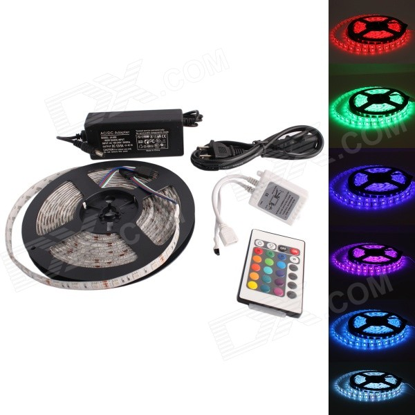 GC Water-resistant 72W 300-SMD 5050 RGB LED Strip Light with 24-Key Remote Controller (12V / 5m)