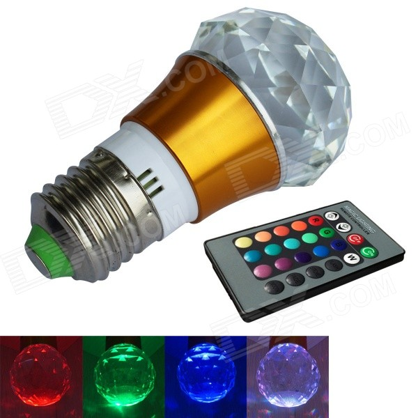 JIAWEN 3W E27 LED RGB Colorful Remote Crystal Lamp - Gold + Transparent (AC100~220V) modern light fixtures ceiling led lights in 2017 hot sale luminarias home decoration square shade remote control light