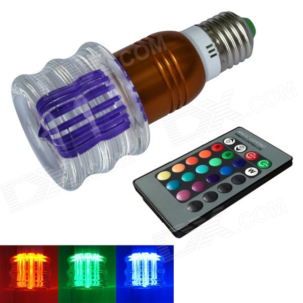 JIAWEN 3W E27 LED RGB Colorful Remote Crystal Ball Lamp (AC100~220V) dhl free shipping factory wholesale super bright 38leds cordless battery remote control 16 colors change led light kit