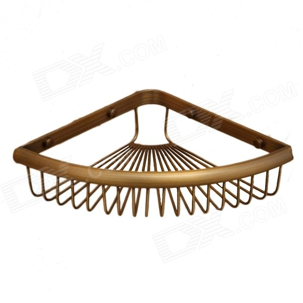 Y3201 Retro Double-layer Triangle Mesh Basket Style Corner Copper Storage Shelf Rack - Antique Brass classic wall mounted antique brass bathroom soap basket bath shower shelf basket holder building material vintage elegant 9013k