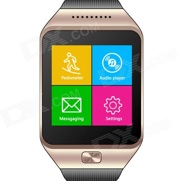 MTK6260A Quad-band GSM Bluetooth Smart Watch Phone w/ 1.54'' Capacitive Screen, FM, BT - Golden zgpax s18 gsm watch phone w 1 54 capacitive screen quad band bluetooth fm blue us