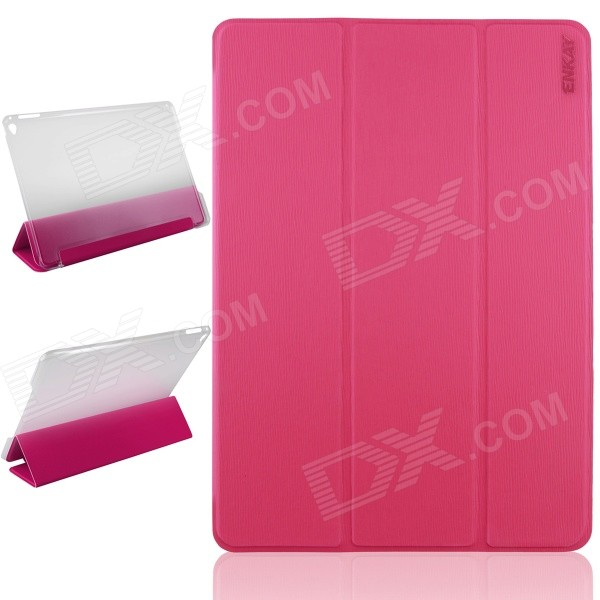 ENKAY ENK-3504 Ultra-thin Protective PU Case w/ 3-Fold Stand / Auto Sleep for IPAD AIR 2 - Deep Pink enkay enk 3504 ultra thin protective pu case w 3 fold stand auto sleep for ipad air 2 black