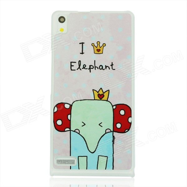 Cute Elephant Patterned Protective PC Back Cover Case for Huawei P6 - White + Red + Multicolored cartoon rabbit pattern plastic back cover case for huawei p6 white deep pink