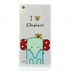 Cute Elephant Patterned Protective PC Back Cover Case for Huawei P6 - White + Red + Multicolored