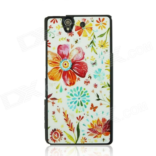 все цены на Fashionable Flower Pattern Plastic Back Case for Sony Xperia Z / L36H - White + Red онлайн