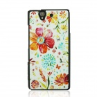 Fashionable Flower Pattern Plastic Back Case for Sony Xperia Z / L36H - White + Red