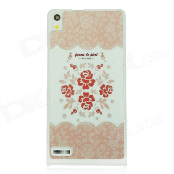 Stylish Rose Pattern Plastic Back Cover Case for Huawei P6 - White + Pink cartoon rabbit pattern plastic back cover case for huawei p6 white deep pink