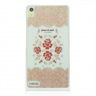 Stylish Rose Pattern Plastic Back Cover Case for Huawei P6 - White + Pink