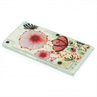 Flower Print Plastic Back Cover Case for Huawei P6 - White + Red