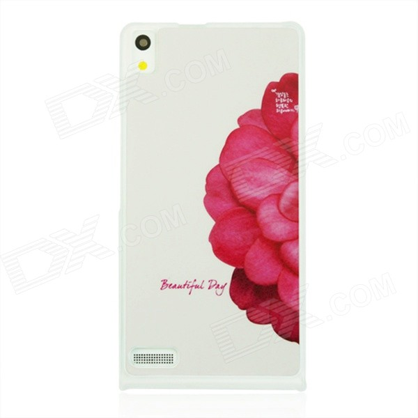Half Flower Pattern Plastic Back Cover Case for Huawei P6 - White + Red