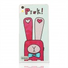Cartoon Rabbit Pattern Plastic Back Cover Case for Huawei P6 - White + Deep Pink