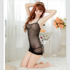 Women's Sexy Halter Hollow Out Lingerie Sleepwear w/ G-string - Black