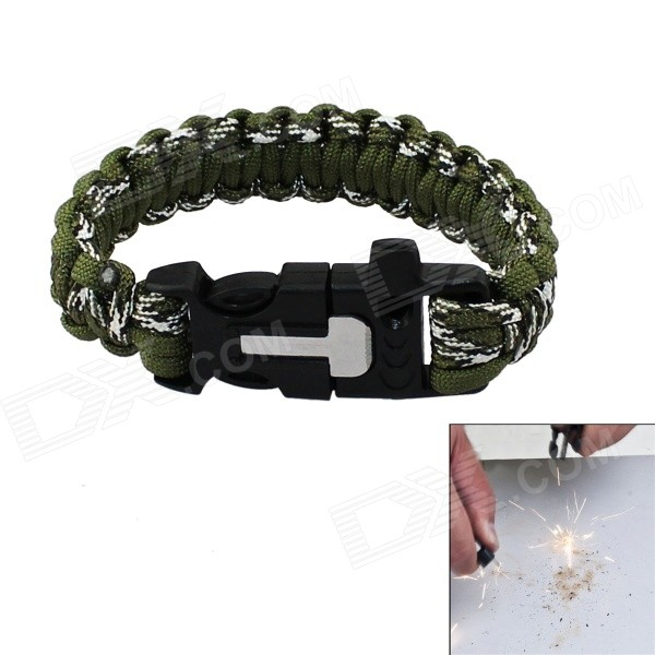Bracelet Style Outdoor Survival Emergency Paracord Rope w/ Flintstone / Whistle - Army Green + White