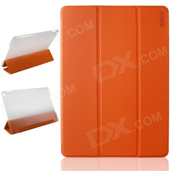 ENKAY ENK-3504 Ultra-thin Protective PU Case w/ 3-Fold Stand / Auto Sleep for IPAD AIR 2 - Orange enkay enk 3504 ultra thin protective pu case w 3 fold stand auto sleep for ipad air 2 black