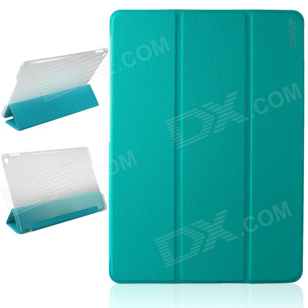 ENKAY ENK-3504 Ultra-thin Protective PU Case w/ 3-Fold Stand / Auto Sleep for IPAD AIR 2 - Blue