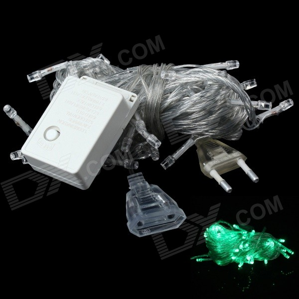 3W 250lm 560nm 50-LED Green Light Christmas Decorative Lamp Light String (10M / EU Plug)