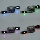 Retractable RGB Light Micro USB Charging Cable for Cell Phone - Black