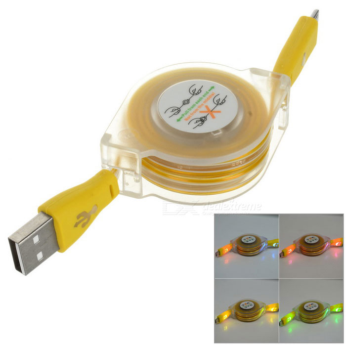 Retractable RGB Light Smile Micro USB Data Sync + Charging Flat Cable for Samsung S3 / S4 - Yellow retractable usb charging cable for nokia 9500 communicator 8800 8600 luna more 70cm