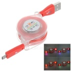 Retractable RGB Light Smile Micro USB Data Sync + Charging Flat Cable for Samsung S3 / S4 - Red