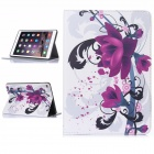 Hat-Prince Flower Pattern Auto Sleep and Wake Up Designed Case for IPAD AIR 2 - White + Purple