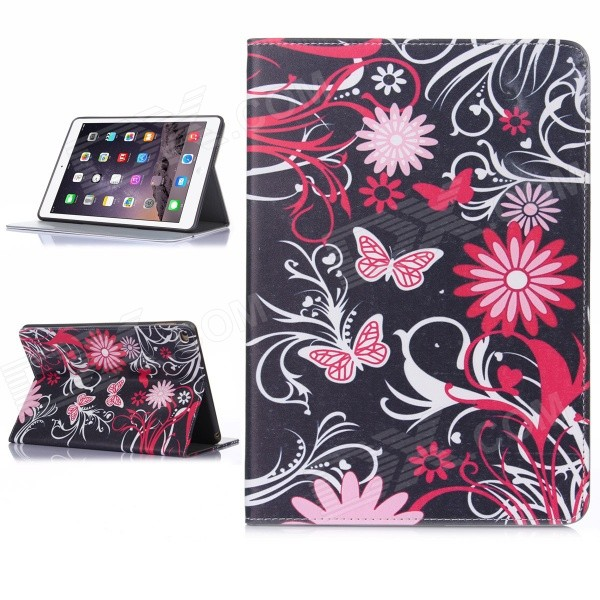 Hat-Prince Butterfly Pattern Auto Sleep / Wake Up Designed Case for IPAD AIR 2 - Black + Pink cute faerie pattern protective pu leather case cover stand for ipad air pink