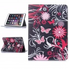 Hat-Prince Butterfly Pattern Auto Sleep / Wake Up Designed Case for IPAD AIR 2 - Black + Pink
