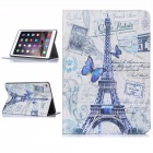 Hat-Prince Tower Pattern PU Leather Case w/ Stand / Auto Sleep for IPAD AIR 2 - Purple + White