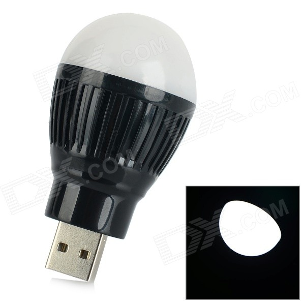 2W 8000MCD 1-LED White Light Energy-saving USB Mini Night Lamp Bulb - White + Black mini usb light 3 led white light small lamp night light mobile power usb light