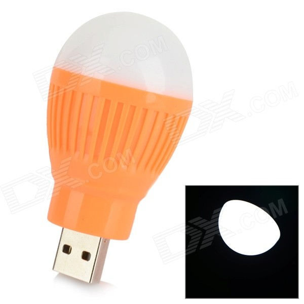 2W 8000MCD 1-LED White Light Energy-saving USB Mini Night Lamp Bulb - White + Orange - DXUSB Lights<br>Color White + Orange + Multi-Colored Brand N/A Quantity 1 Piece Material ABS Shade Of Color White Light Color White LED Qty Others1 Powered By USB Lumens 8000 MCD Power 2 W Packing List 1 x Bulb<br>