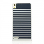 Navy Stripe Style Pattern Plastic Back Cover Case for Huawei P6 - White + Blue