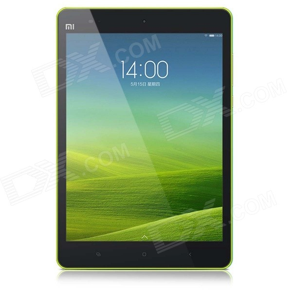 Xiaomi 7.9 Quad Core Android 4.4 Tablet PC w/ 2GB RAM, 64GB ROM, Bluetooth, SD, Wi-Fi - Green - DXTablets<br>Color Green Brand OthersXiaomi Quantity 1 Piece Shade Of Color Green Material Aluminum alloy + plastic housing Processor Brand OthersNvidia Tegra K1 ARM Cortex-A15 Processor Model OthersA15 Processor Speed 2.2 GHz Number of Cores Quad Core Operating System Android 4.4 GPU NVIDIA Kepler RAM/Memory Type OthersLPDDR3 Built-in Memory / RAM 2GB Capacity / ROM 64GB Screen Size 7.9 Inch Screen Type TFT Touch Type Capacitive screen Resolution Others2048 x 1536 3G Type No 3G Function No GPS No Supported Network Wifi Wi-Fi Standard Others802.11b/g/n/ac Gravity Sensor Yes Bluetooth Version V4.0 Microphone Yes Interface 1 x 3.5mm1 x micro USB USB Charge Yes Google Play(Android Market) Yes Camera 2 x Camera Front Camera Pixels 5 MP Back Camera Pixels 8 MP Storage Interface SD Images BMPGIFJPEGOthersPNG E-book DOCPDFOthersTXT Video Formats OthersMP4 MPEG4 H.263 H.264 External Memory Max. Support Others128 GB Microphone Jack No Plug Specifications US Plug (2-Flat-Pin Plug) Tip Diameter 5.0 x 3.5 Supported Languages EnglishOthersSimplified Chinese Traditional Chinese Battery Capacity 6700 mAh Battery Type Li-polymer battery Working Time 86 Hour Standby Time 1200 Hour Charging Time 3.5~4.5 Hour Packing List 1 x Tablet PC 1 x Cable (120cm) 1 x Power adapter (US plug input: 100~240V; output: 5 V 2 A) 1 x Chinese user manual<br>